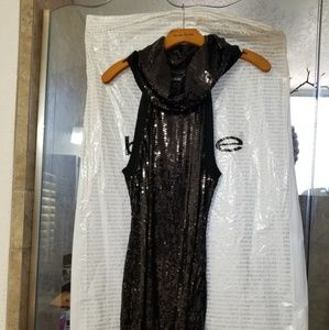 Sequin Black cowelneck dress